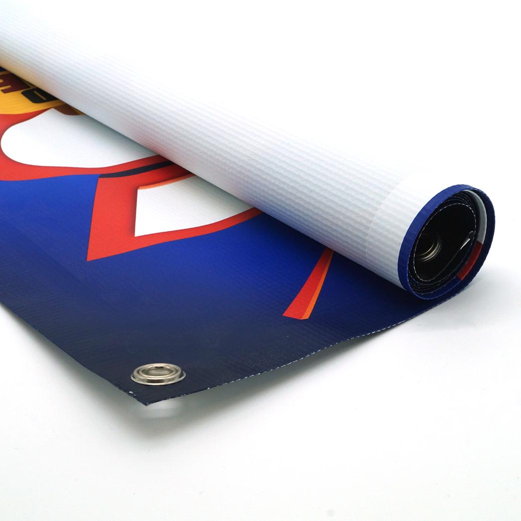 custom vinyl banner with hem and grommets