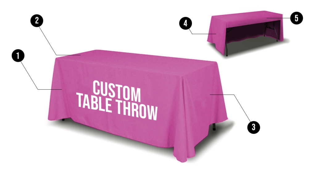 Custom printed polyester table cover table throw