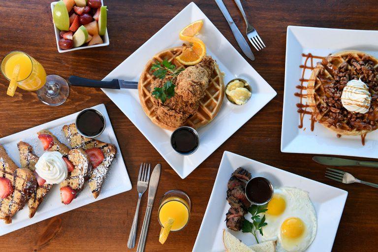 Georgia's Restaurant Photograph fried chicken toast waffles steak eggs